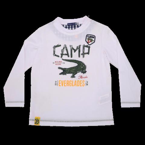 Bluză albă cu imprimeu crocodil