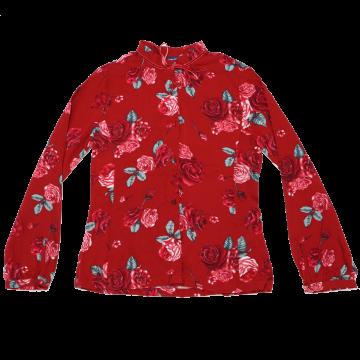 Cămașă roșie cu imprimeu trandafiri