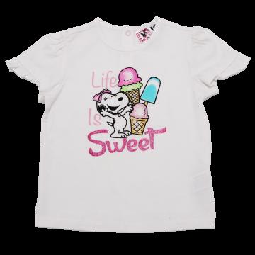 Tricou alb cu imprimeu Life is Sweet