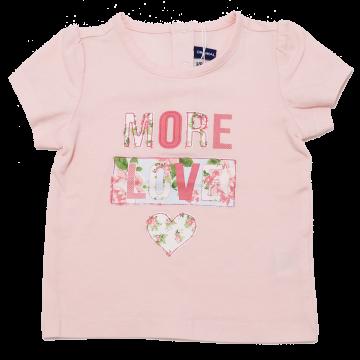 Tricou roz cu imprimeu More Love Original Marines 3-6 luni (68cm)