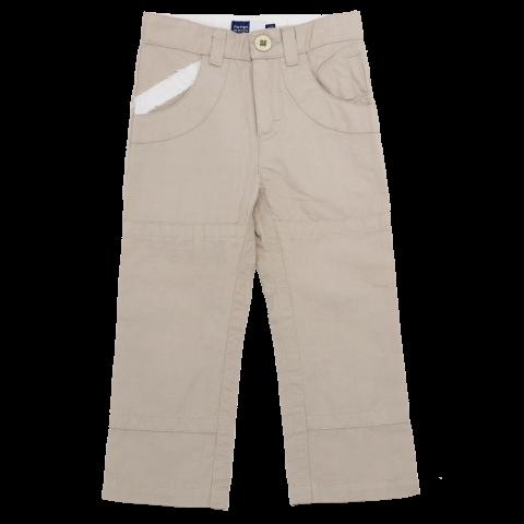Pantaloni bej din in cu talie ajustabilă