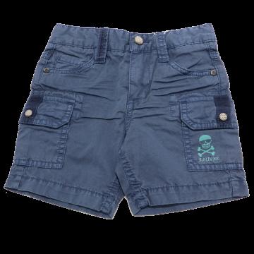 Pantaloni scurți bleumarin cu buzunare și craniu