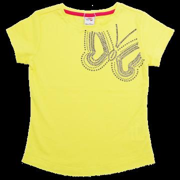 Tricou galben cu aplicații metalice