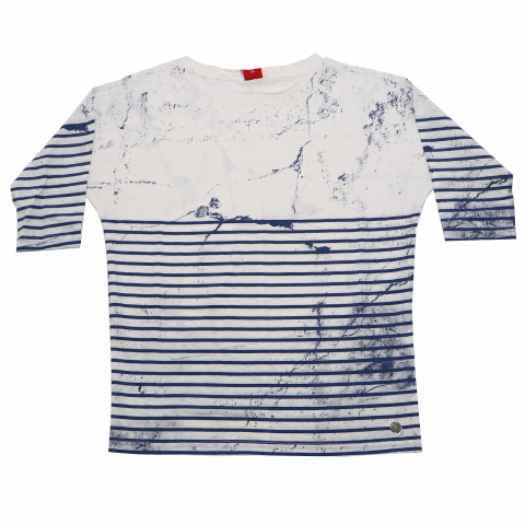 Bluză albă cu dungi albastre s.Oliver 7-8 ani (128cm)