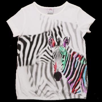 Tricou alb cu imprimeu zebră