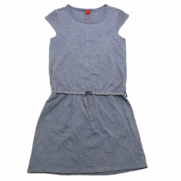 Rochie gri bleu cu cordon în talie