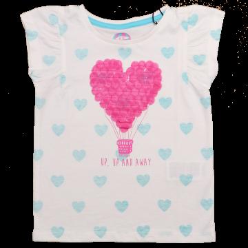 Tricou alb cu paiete și imprimeu balon în formă de inimă