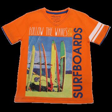 Tricou portocaliu cu anchior și imprimeu