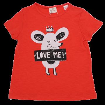 Tricou roșu cu imprimeu șoricel  Zara 3-4 ani (104 cm)