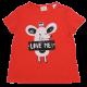 Tricou roșu cu imprimeu șoricel