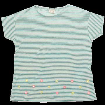 Tricou cu dungi verzi și aplicații Zara 7-8 ani (128 cm)
