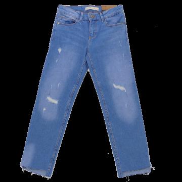 Jeans slim cu rupturi și tiv