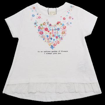 Tricou alb cu imprimeu inimă din flori Zara 4 ani (104 cm)