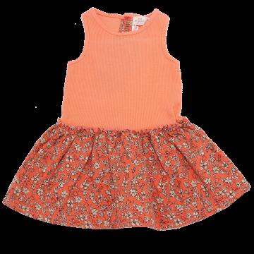 Rochiță portocalie din două materiale