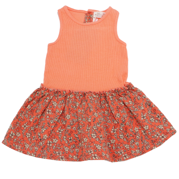 Rochiță portocalie din două materiale Zara 6-9 luni (74 cm)