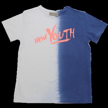 Tricou jumătate alb, jumătate albastru Zara 5-6 ani (116cm)