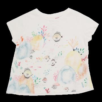 Tricou alb cu imprimeu pești