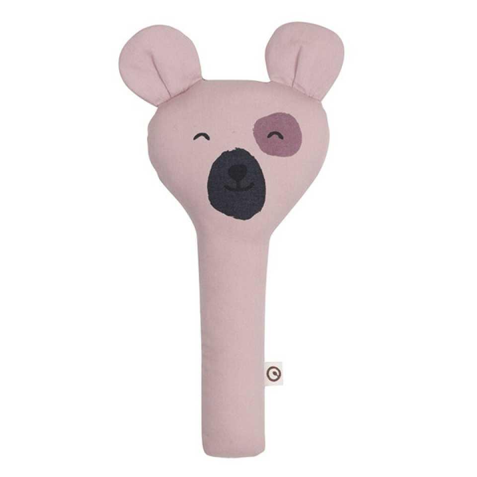Zornăitoare roz pentru bebeluși cu urechi de ursuleț