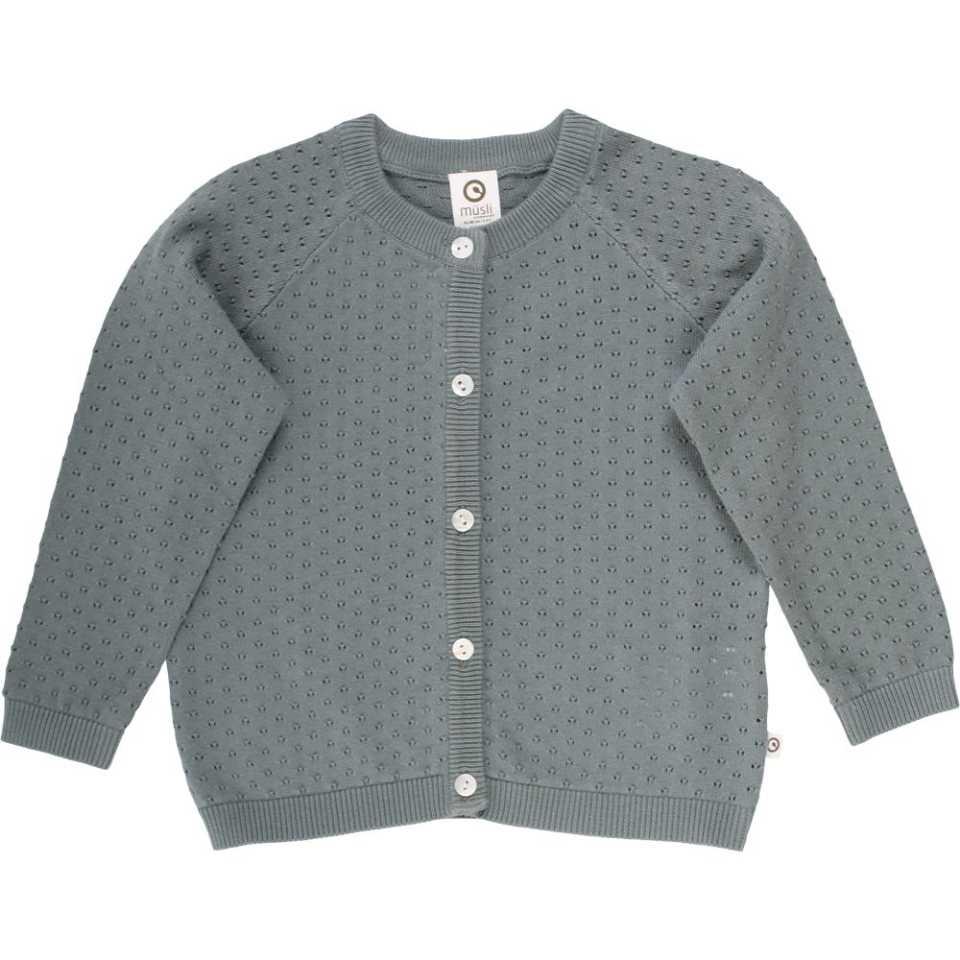 Cardigan tricotat bleu pudrat