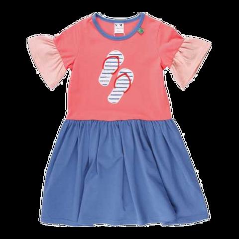 Rochiță în două culori cu imprimeu șlapi