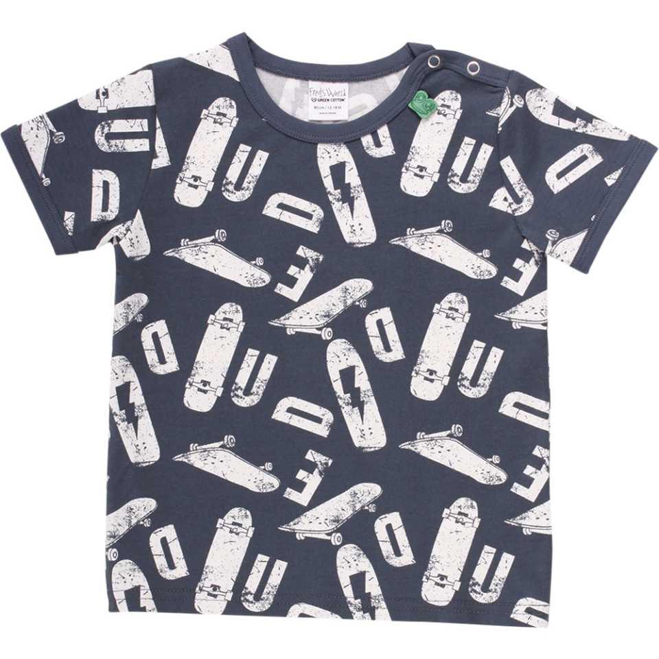 Tricou bleumarin cu imprimeu skate