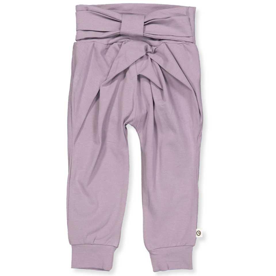 Pantaloni lila cu fundă