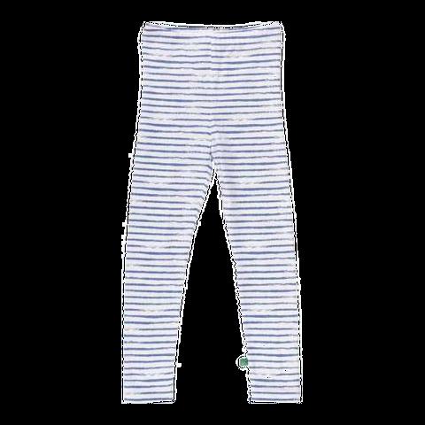 Colanți lungi albi cu dungi albastre