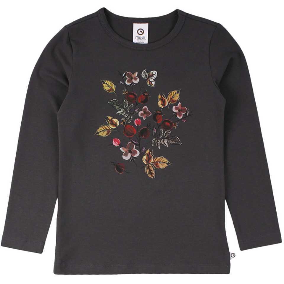 Bluză gri antracit cu mânecă lungă și imprimeu floral