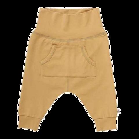 Pantaloni bej cu buzunar central