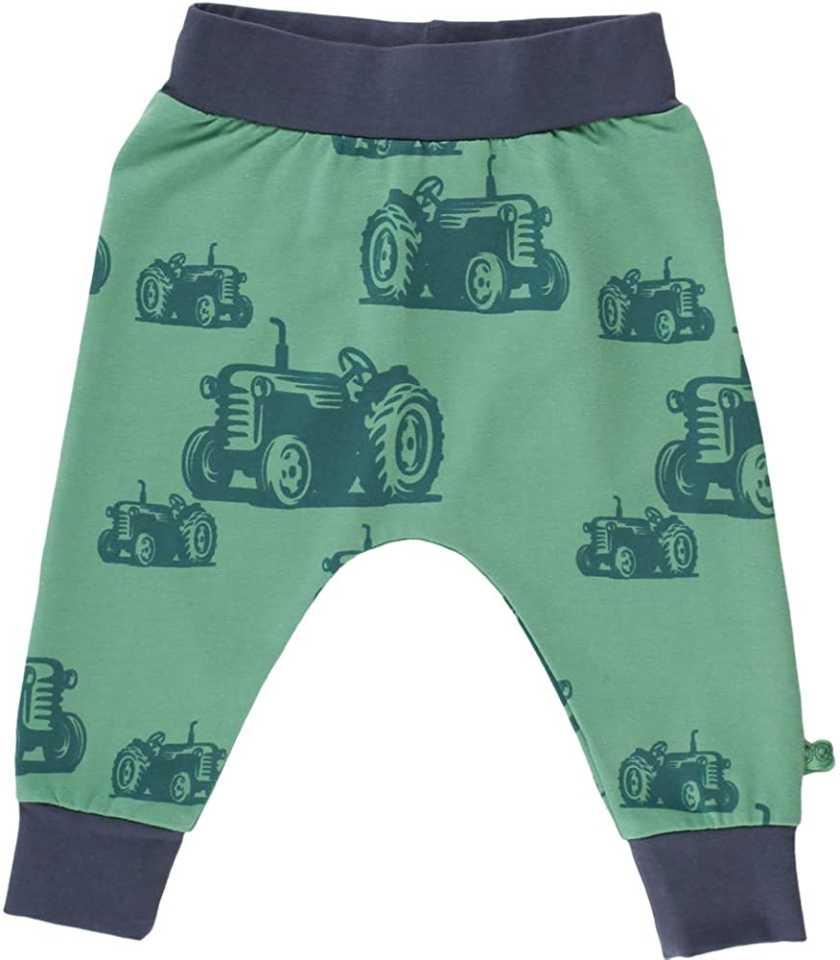 Pantaloni verzi cu imprimeu tractorașe