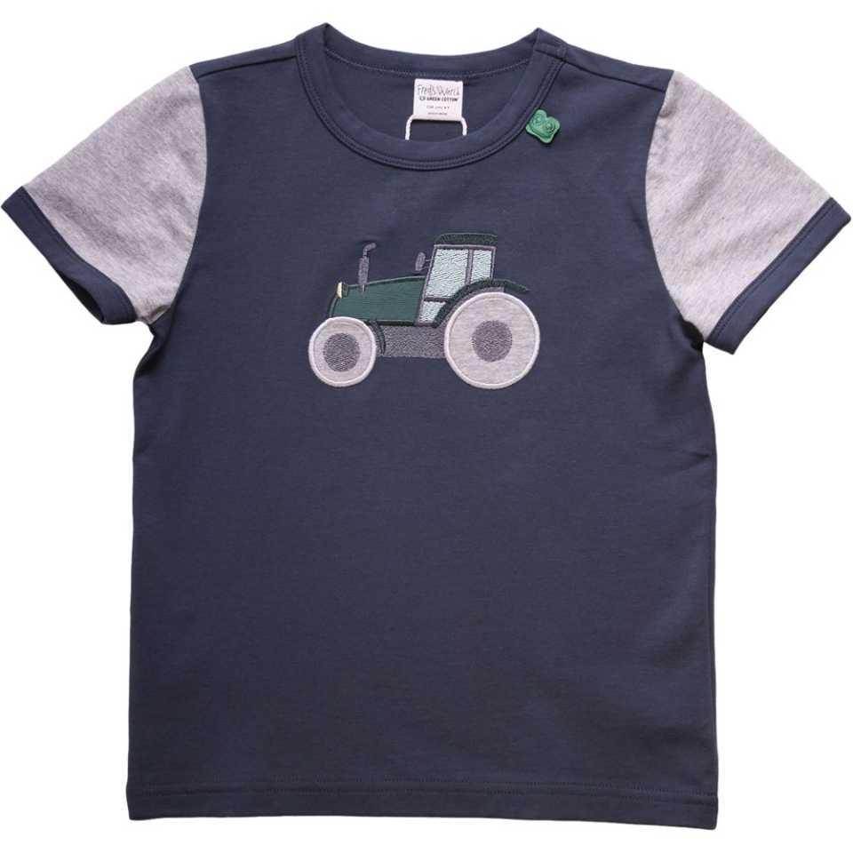 Tricou bleumarin cu imprimeu cusut și mâneci contrastante