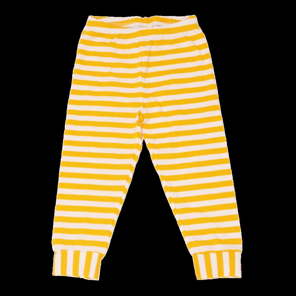 Pantaloni pijama în dungi alb galben