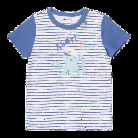 Tricou alb cu dungi albastre și caracatiță cusută
