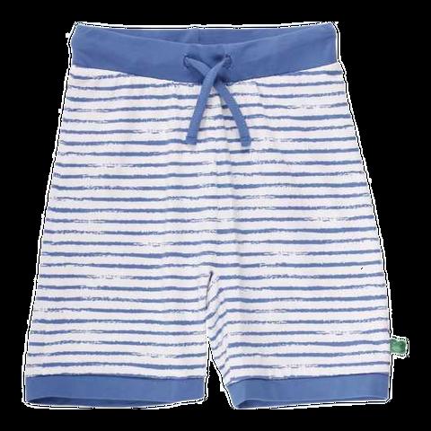 Pantaloni scurți albi cu dungi albastre