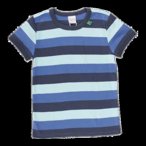 Tricou albastru cu dungi late