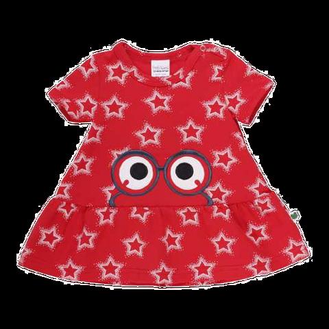 Rochiță roșie cu volane la bază și imprimeu steluțe
