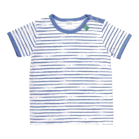 Tricou alb cu dungi albastre și capse pe umăr