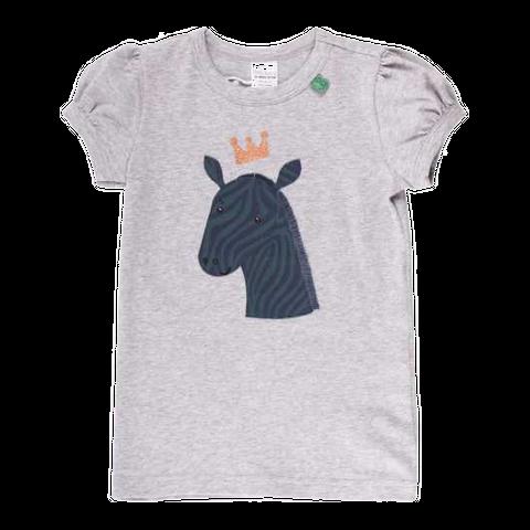 Tricou cu volane la mâneci și imprimeu zebră