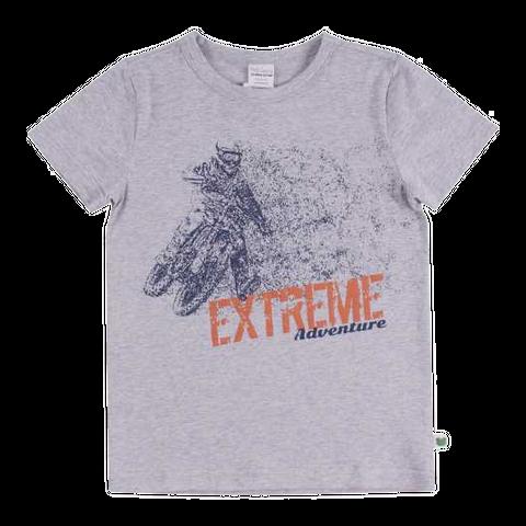 Tricou gri cu mânecă scurtă și imprimeu text pentru băieți