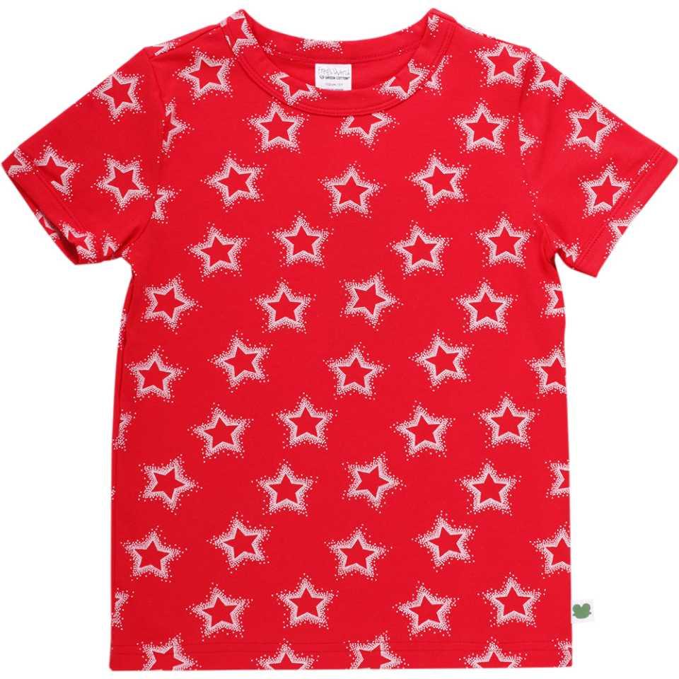 Tricou roșu cu imprimeu steluțe pentru fetițe