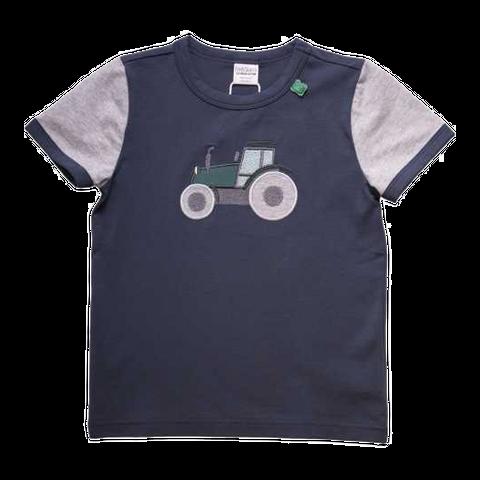 Tricou bleumarin cu mâneci gri