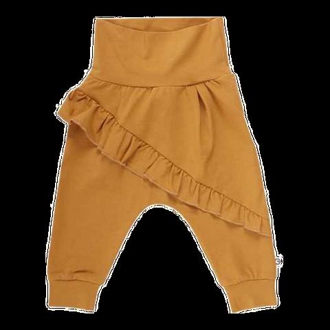 Pantaloni cu volane galben muștar