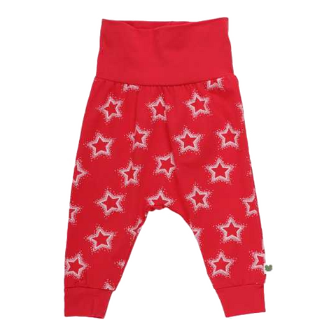Pantaloni roșii cu imprimeu steluțe