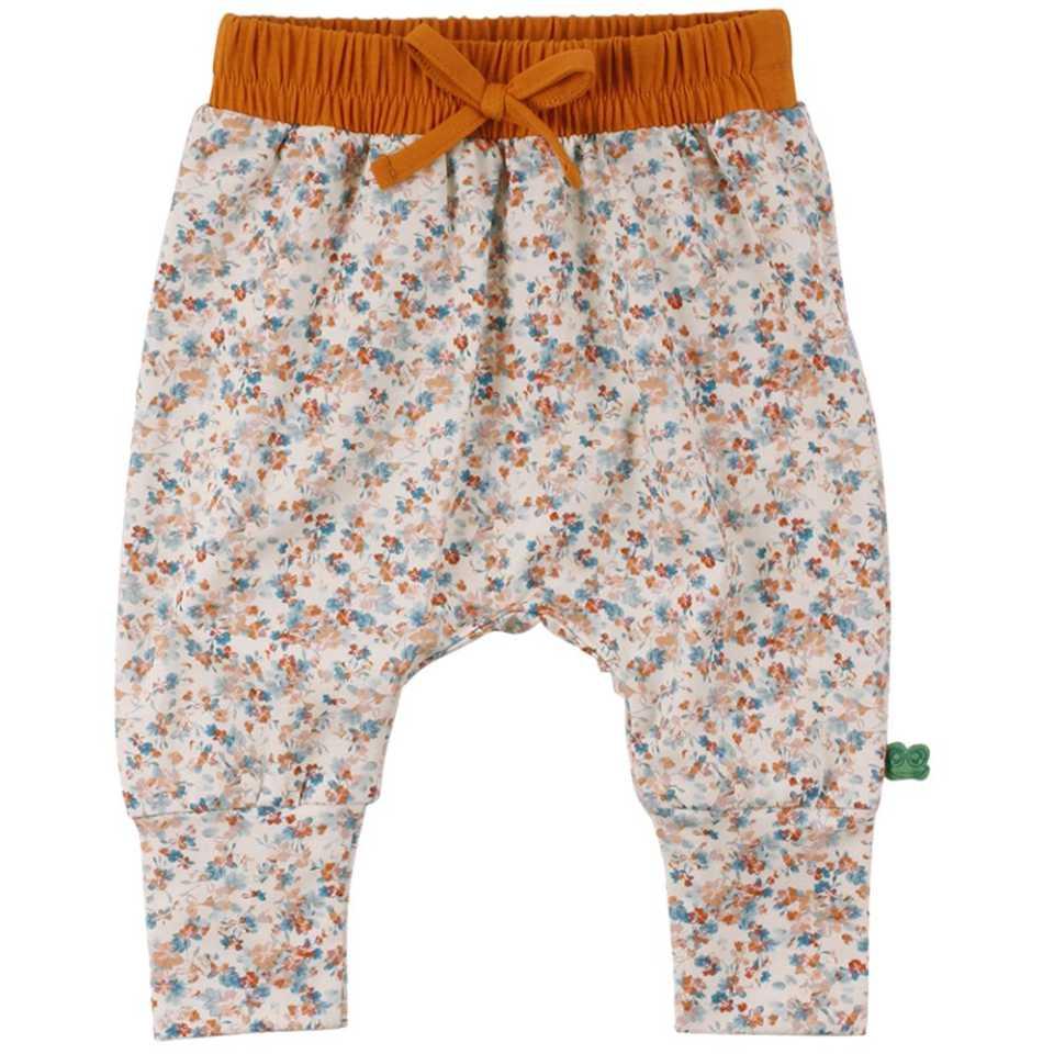 Pantaloni cu model floral și talie elastică