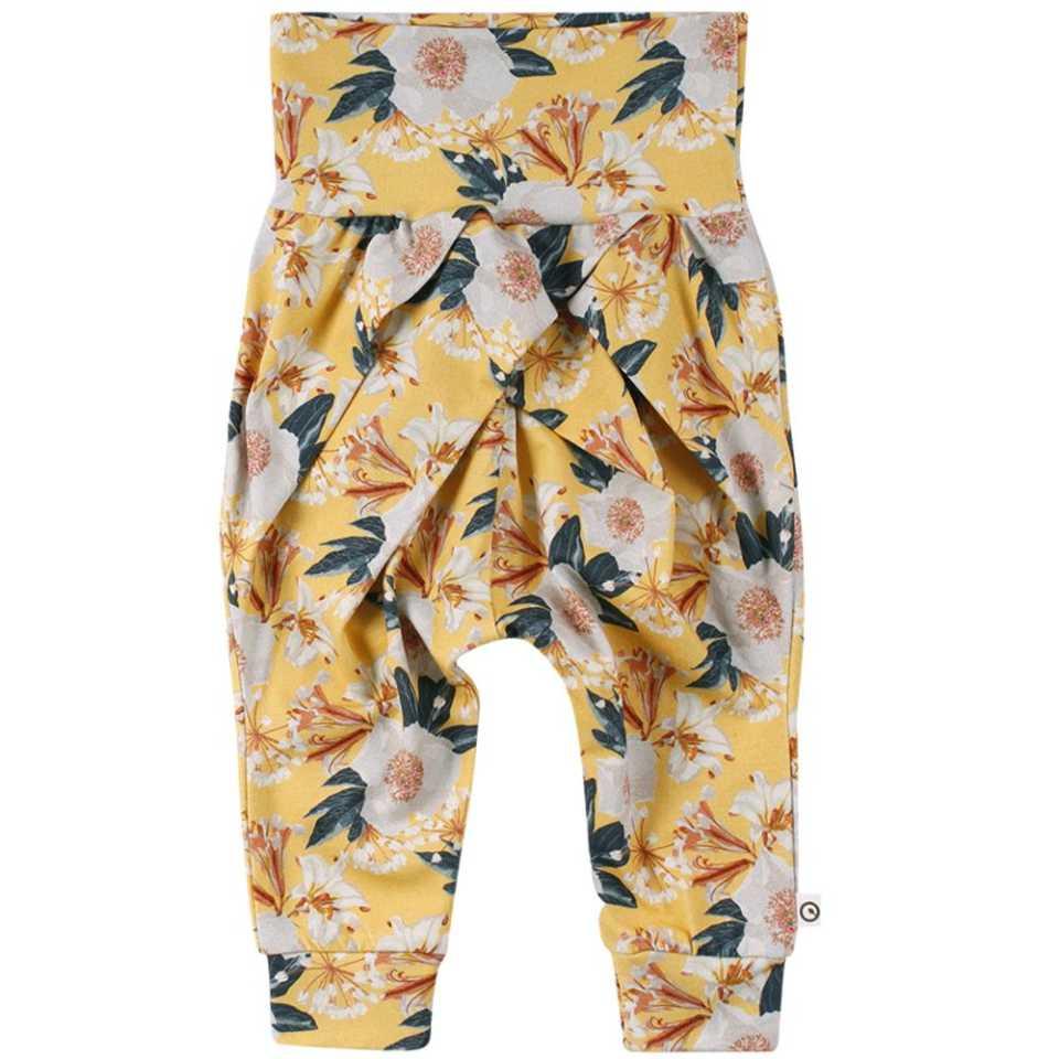 Pantaloni cu fundă și imprimeu vegetal