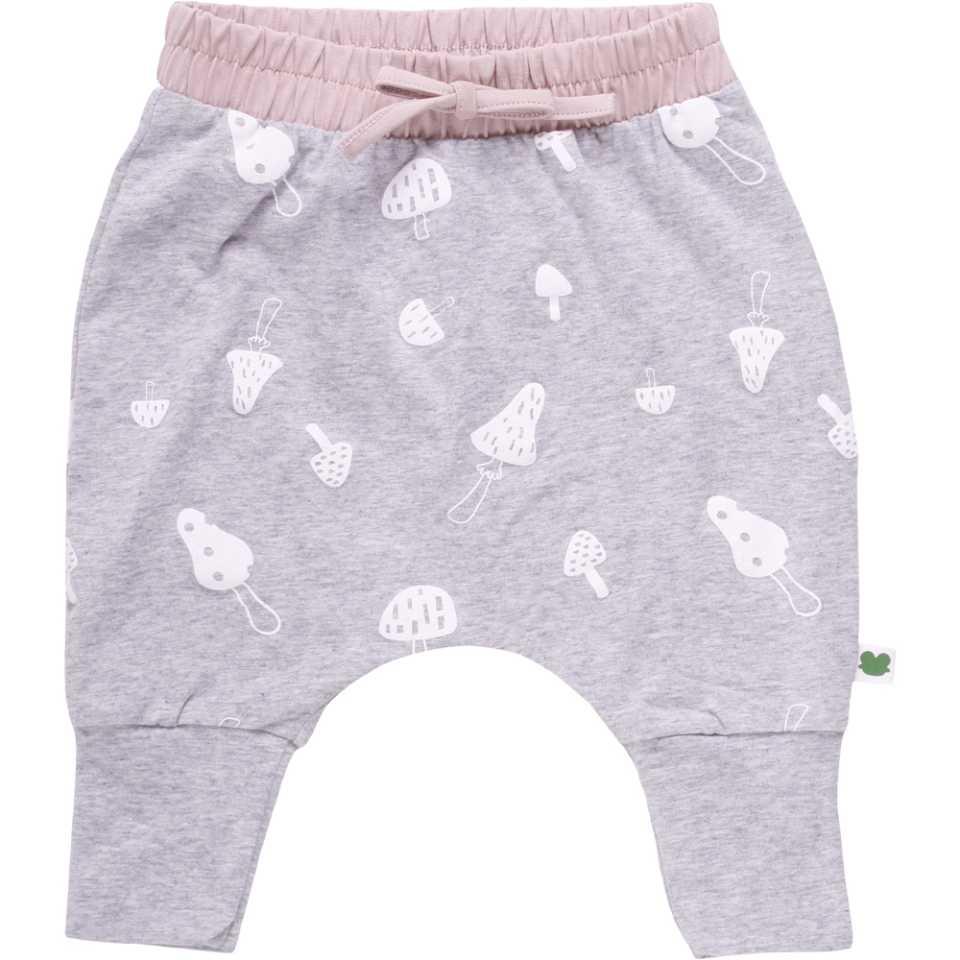 Pantaloni gri cu imprimeu ciupercuțe