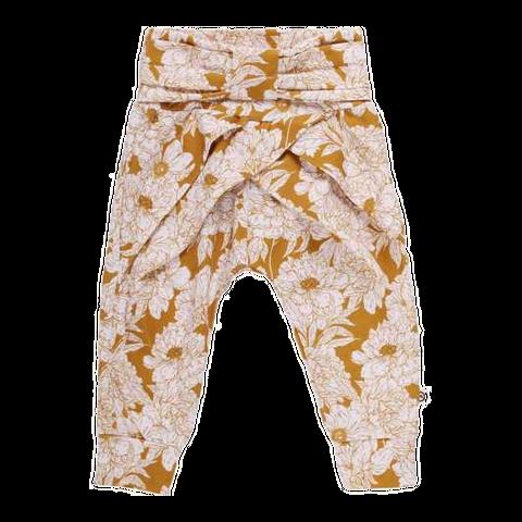 Pantaloni cu fundă și imprimeu floral