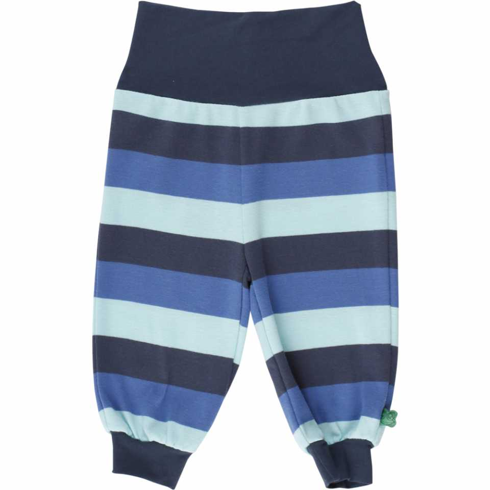 Pantaloni în dungi cu diferite nuanțe de albastru