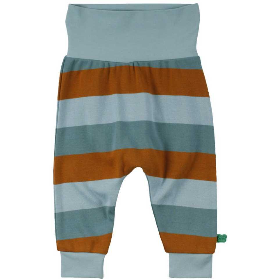 Pantaloni bleu prăfuit cu dungi maro