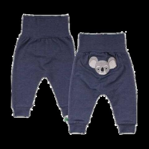 Pantaloni cu aspect denim și imprimeu urs koala